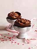 Mousse au chocolat in chocolate bowls