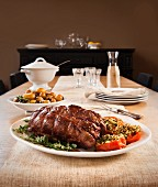 Roast lamb with side dishes