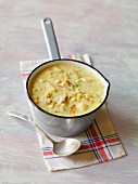 Two bowls of corn chowder