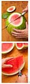 A watermelon being sliced