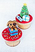 Christmas cupcakes decorated with Christmas presents