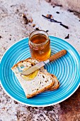 A slice of bread and honey