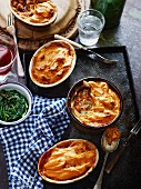 Shepherd's pie with sweet potatoes served with spinach