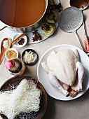 Ingredients for Hu Tieu Pho Ga, a Vietnamese dish