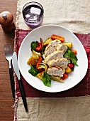 Vegetable salad with grilled chicken breast