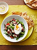 Vegetable salad with beef and poached egg (Morocco)