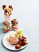 fruit dip, chocolate drizzle cones, easy trifle