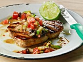 Grilled swordfish with tomato and avocado salsa