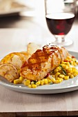 Grilled Salmon with sweetcorn and homemade crisps