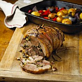Lamb roulade with oven-roasted vegetables