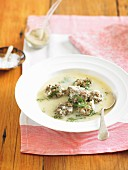 Greek-style meatball soup