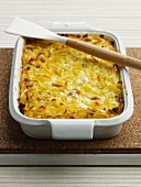 Kugel - Jewish pasta bake with cottage cheese and raisins