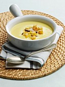 Sweetcorn and mushroom soup with croutons