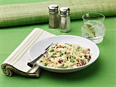 Orzo risotto with peas and pancetta