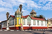 A house built on a corner with an onion-domed tower in Swakopmund, Namibia