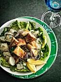 Tea-smoked mackerel with potato salad