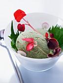 Matcha tea ice cream with shiso