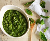 A bowl of mint chutney and fresh mint