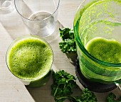 A healthy green kale shake