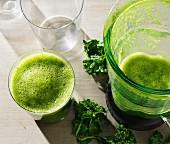 A healthy green kale shake