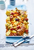 Chicken legs with figs and potatoes