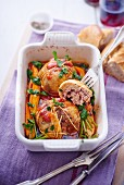 Guinea fowl roulade with carrots