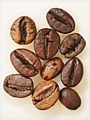 Ten coffee bean, extreme close-up