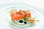Salmon sashimi with soy sauce