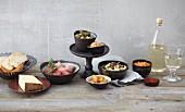 Various fondue ingredients