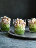 Crab cocktails with cucumber and lime jelly