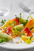 Tomato salad with pine nuts, oregano, rocket and chickweed