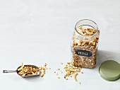 Roasted oriental muesli with ginger, peanuts and coconut chips