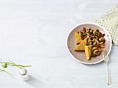 Semolina slices with mushrooms