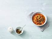 Vegan Djuvec rice stew with smoked tofu