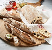 Rustic baguettes and olive bread