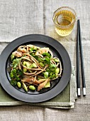 Noodle salad with smoked mackerel, asparagus, beans and a ginger-miso dressing (Asia)