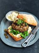 Vitello-tonnato burger with capers and tuna fish sauce