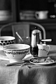 Used crockery on a breakfast table