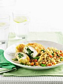 Chicken kiev with vegie rice