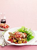 Spicy sausage and vegie hash with fast salsa