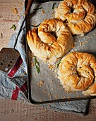 Chicken and cheese filo scrolls