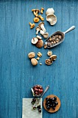 Umami-flavoured ingredients: mushrooms, walnuts and olives