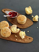 Breakfast rolls with butter and jam