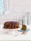 Beetroot cake with chocolate glaze