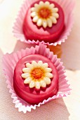 Petit fours decorated with sugar flowers