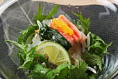 Fish salad with mussel jelly, seaweed and surimi (Japn)