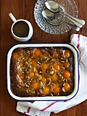 Sticky Date Pudding with apricots and peaches