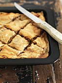 Baklava in a baking tin