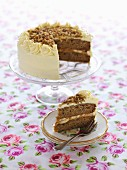 Banana caramel cake, sliced