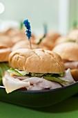 Turkey sandwiches on a tray